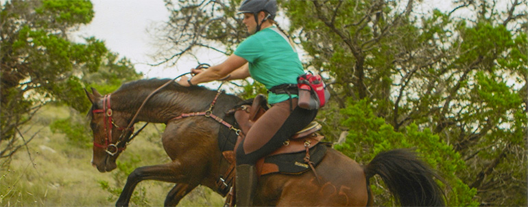 Owner Jennifer Masters competing in a 50 mile endurance ride